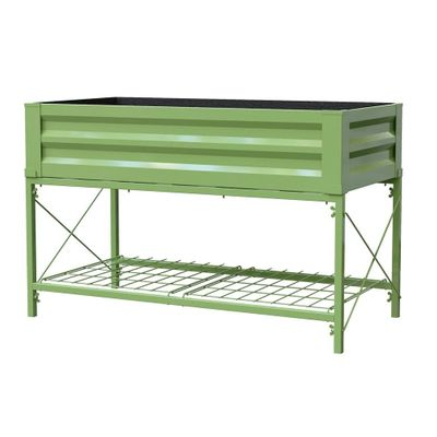 Stand Up Metal Raised Garden Planter with liner, Moss Green