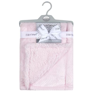 Double layer sherpa / plush blanket - PINK