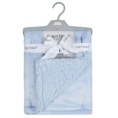 Double layer sherpa / plush blanket - BLUE
