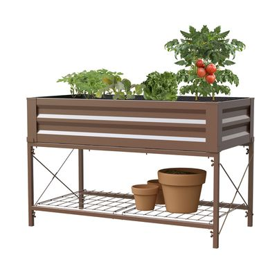 PROMO Stand Up Metal Raised Garden Planter with liner, Timber Brown SAVE ?50