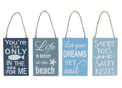 Beach Quote Hanging Signs (4 Assorted)