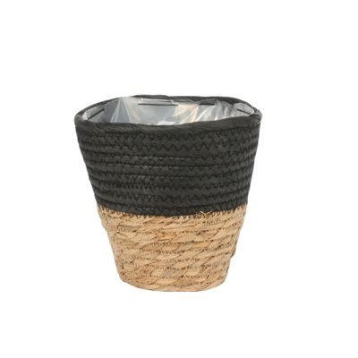 16cm Round Two Tone Seagrass and Black Paper Basket