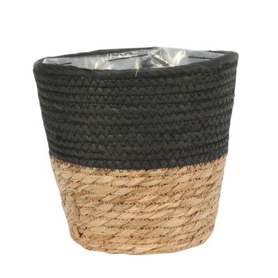 23cm Round Two Tone Seagrass and Black Paper Basket