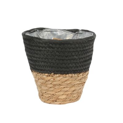 19cm Round Two Tone Seagrass and Black Paper Basket