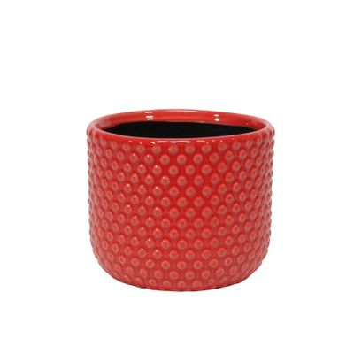 Painted Red Pot with Debossed Dots - Stoneware (13x11cm)