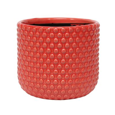 Painted Red Pot with Debossed Dots - Stoneware (17x15cm)
