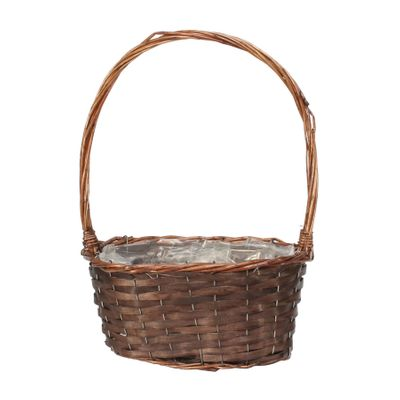 30cm Oval Basket with Handle Dark Brown