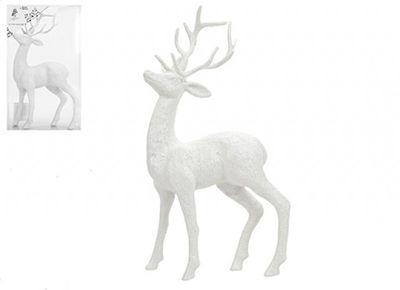 26cm White Glitter Reindeer