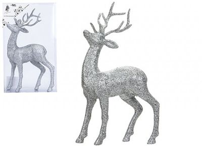 26cm Silver Glitter Reindeer
