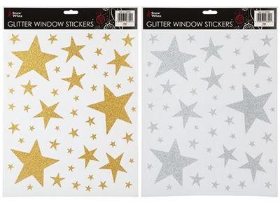 Glitter Stars Window Stickers (2 Assorted)