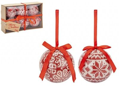 SET OF 6 75MM POLYFOAM BAUBLES IN CRAFT W/BOX KNIT LOOK