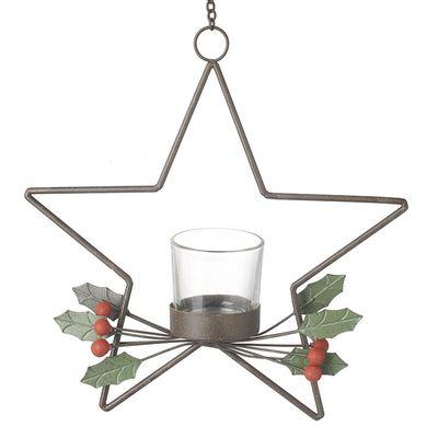 Metal Hanging Star Holly Tea light