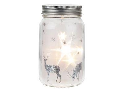 8x14.5CM FROSTED GLASS LIGHT UP JAR DEORATION