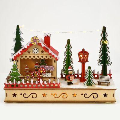 LED Light Up Gingerbread House Scene