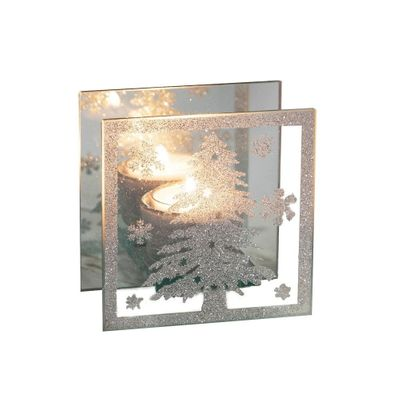 Square Glass Tealight Holder with Christmas Tree Design