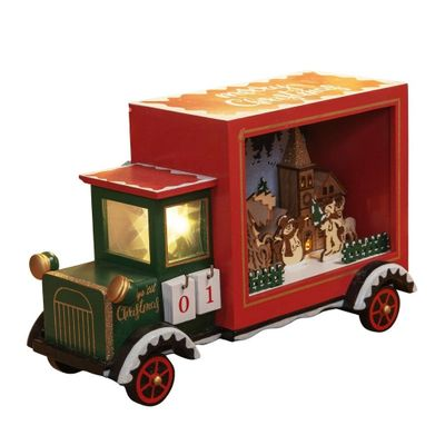 LED Light Up Merry Christmas Truck with Countdown Calendar