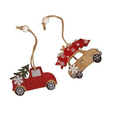 Set of 8 Laser Cut Wooden Car Hanging Decorations