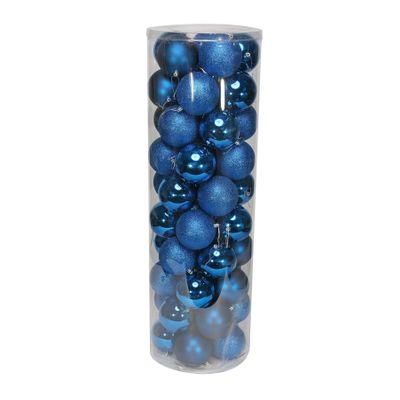 Blue 10cm Plastic Ball in tube (matt,shiny,glitter) x 50