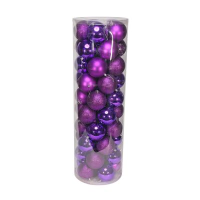 Purple 10cm Plastic Ball in tube (matt,shiny,glitter) x 50