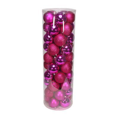 Hot Pink 10cm Plastic Ball in tube (matt,shiny,glitter) x 50