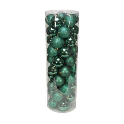 Green 10cm Plastic Ball in tube (matt,shiny,glitter) x 50