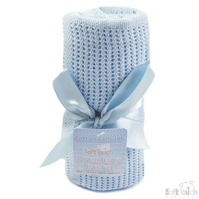 Blue Cellular Cotton Baby Blanket