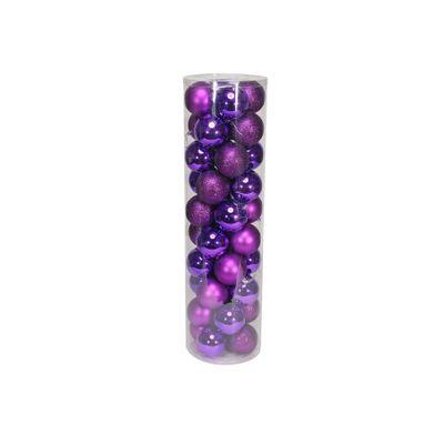Purple 8cm Plastic Ball in tube (matt,shiny,glitter) x 40