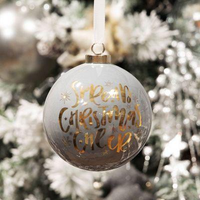 Grey & Gold Ceramic Bauble- Spread Christmas Cheer *MULTI 6*