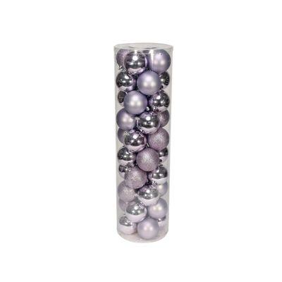 Lilac 8cm Plastic Ball in tube (matt,shiny,glitter) x 40
