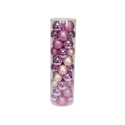 Pink 8cm Plastic Ball in tube (matt,shiny,glitter) x 40