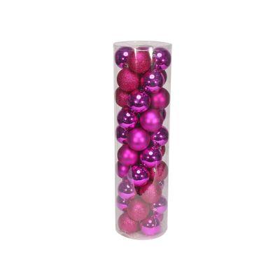 Hot Pink 8cm Plastic Ball in tube (matt,shiny,glitter) x 40