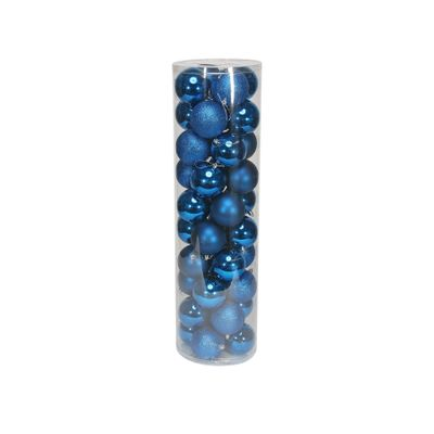 Blue 8cm Plastic Ball in tube (matt,shiny,glitter) x 40