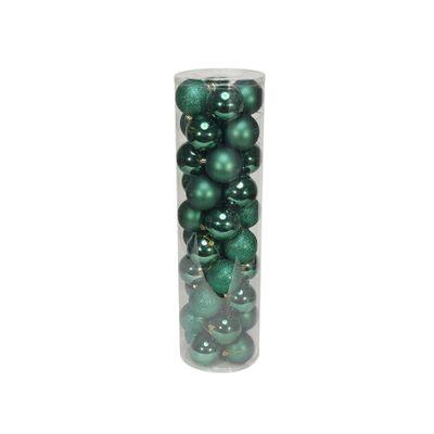 Green 8cm Plastic Ball in tube (matt,shiny,glitter) x 40