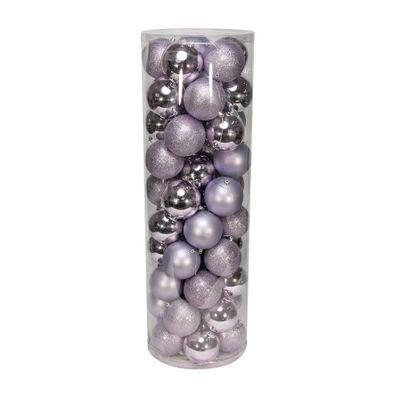 Lilac 10cm Plastic Ball in tube (matt,shiny,glitter) x 50