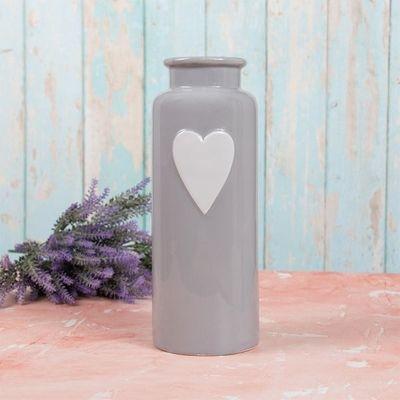 Grey Heart Vase