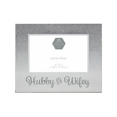 Silver Hubby & Wifey Frame (4 x6)