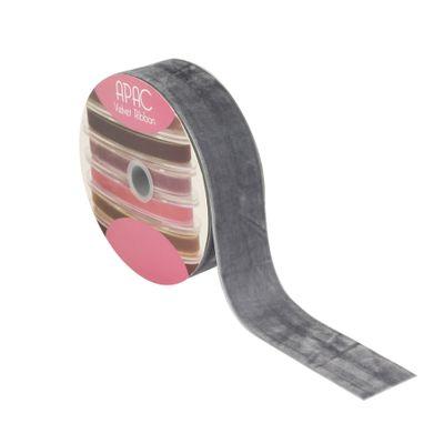 Grey Velvet Ribbon 50mm x 20m