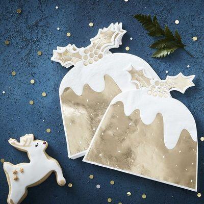 Gold Christmas Pudding Napkin