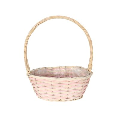 Pink & Natural Two Tone Small Oval  Basket with Handle
