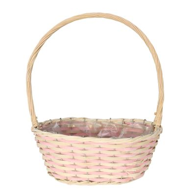 Pink & Natural Two Tone Large Oval Basket with Handle
