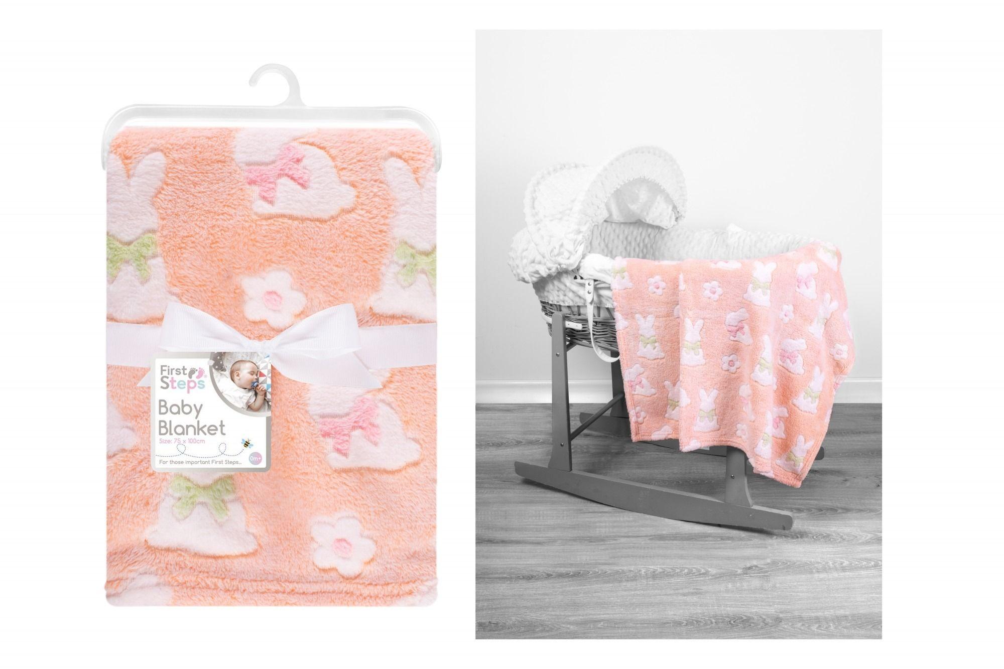 Baby Blanket 75X100Cm Peach Bunny Rabbit Design