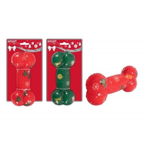 Assorted Rubber Printed Dog Bone Toy (17cm)