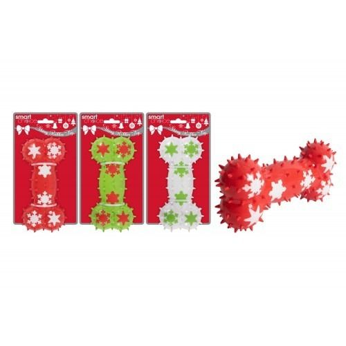 Assorted Rubber Snowflake Dog Bone Toy (17cm)