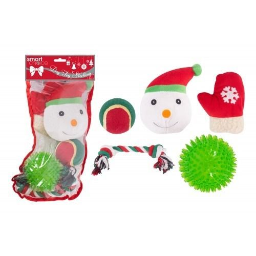 Rubber Christmas Stocking Dog Toys (Pack of 5)