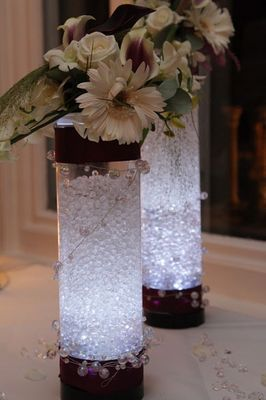 Cylinder Vase with Crystal Pearls