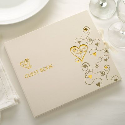 Gold Hearts Guest Book
