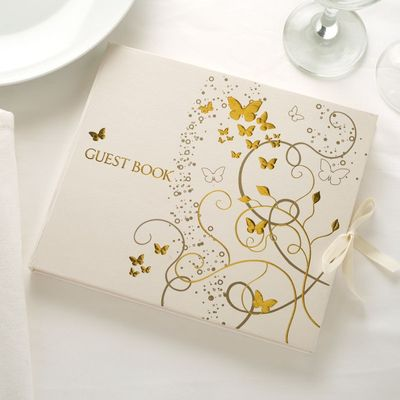 Gold Butterfly Guest Book