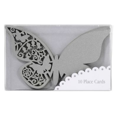 Silver Laser Cut Butterfly Place Card