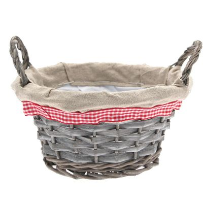 20cm Round Grey Wash with Ears Basket