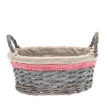 Oval Grey Wash with Ears Basket